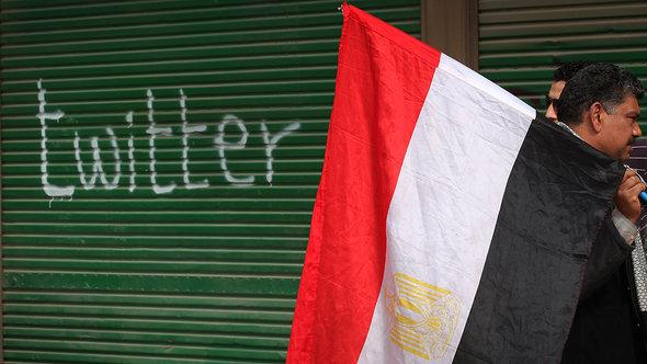 A shop in Tahrir Square is spray-painted with the word 'Twitter' after the Egyptian government shut off Internet access on 4 February 2011 (photo: Peter Macdiarmid/Getty Images)