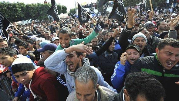 Protests in Sidi Bouzid against Tunisia's president Moncef Marzouiki on 17 December 2012 (photo: Getty Images)
