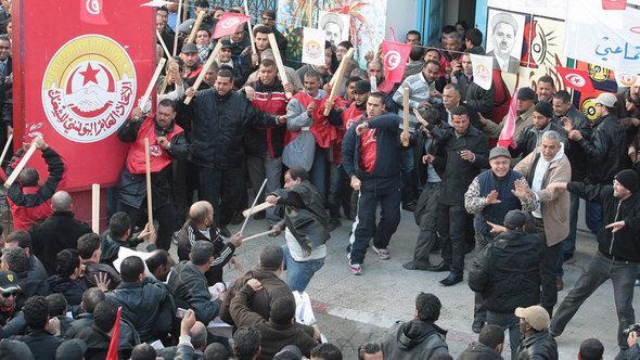 Protestveranstaltung der Gewerkschaft UGTT; Foto: dapd