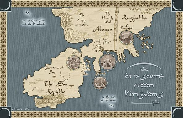 Map of fictious kingdoms in Throne of the Crescen Moon by Saldin Ahmed (photo: ©saladinahmed.com)