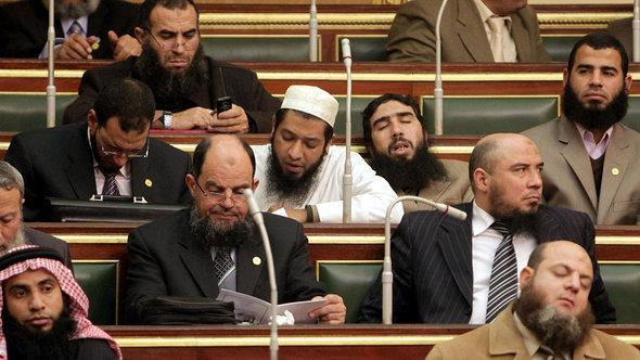 Deputies of the Salafi Al-Nour Party during parliamentary session in Cairo, January 23, 2012 (photo: AFP/Getty Images)
