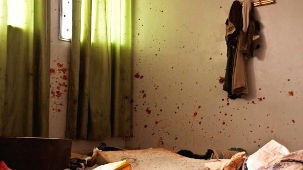 Blood on the walls, a stark reminder of the previous days fight in a school room on the outskirts of Aleppo, Syria, 25 October 2012, (photo: Andreas Stahl/DW)