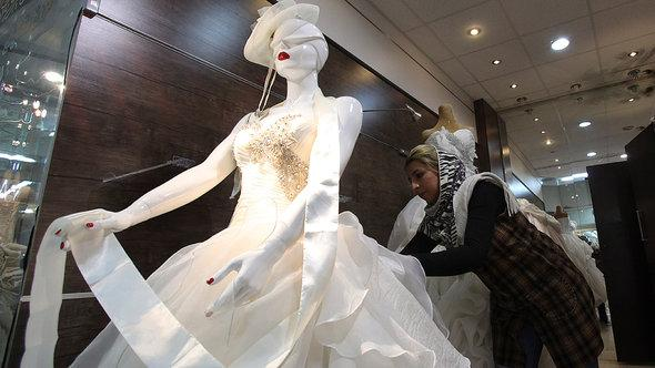 Wedding gown displayed in a shop window in Teheran
