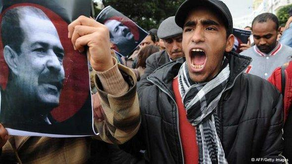 Angry protestors with the picture of the murdered opposition figure Chokri Belaid (photo: AFP/Getty)