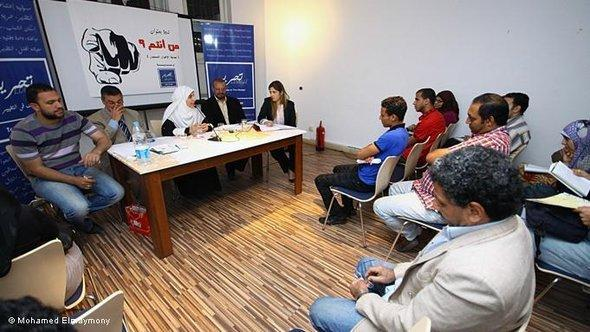 A political seminar in the Tahrir Lounge in Cairo (photo: Mohamed Eladymony)