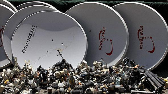 Satellite dishes that were confiscated in Tehran (photo: MEHR)