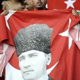 Turkish flag with Mustafa Kemal Ataturk (photo: AP)