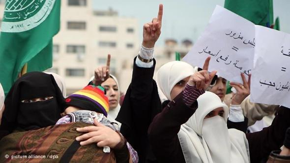 Rally of female members of the Muslim Brotherhood in Amman, Jordan (photo: picture-alliance/dpa)