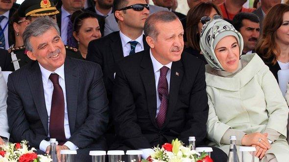 President Gül and Prime Minister Erdogan at a ceremony marking the start of construction on Istanbul's third bridge (photo: MIRA/AFP/Getty Images)