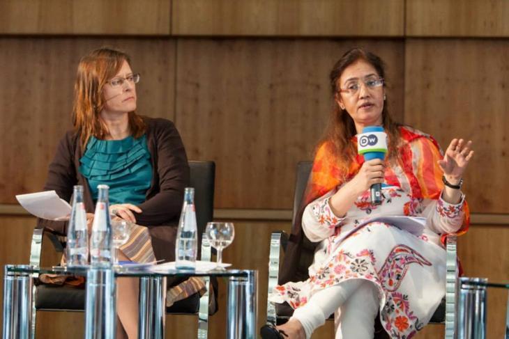 Fauzia Shaheen at a media conference (photo: private)