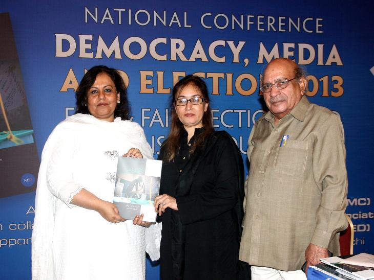 Fauzia Shaheen at a media conference (photo: private)