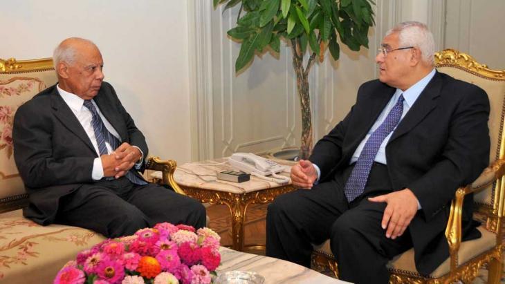 Egyptian Prime Minister Hazem El-Beblawi (left) and Egyptian President Adly Mansour (photo: Reuters)