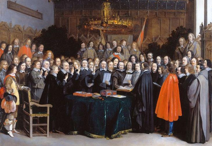 The Ratification of the Treaty of Münster, 15 May 1648, painting by Hendrik ter Borch (source: Wikipedia)