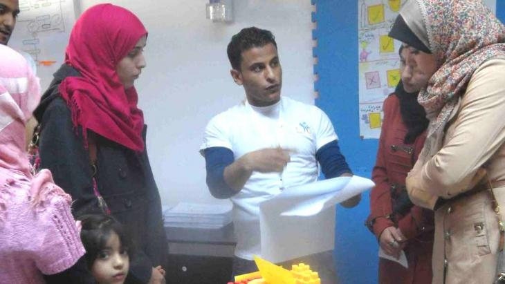 Mahmoud, the young social worker, at the Libya Youth Center (photo: Valerie Stocker)