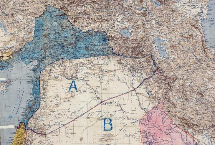 Map of Sykes-Picot Agreement showing Eastern Turkey in Asia, Syria and Western Persia, and areas of control and influence agreed between the British and the French. Royal Geographical Society, 1910-15. Signed by Mark Sykes and François Georges-Picot, 8 May 1916 (image: The National Archives, UK – public domain)