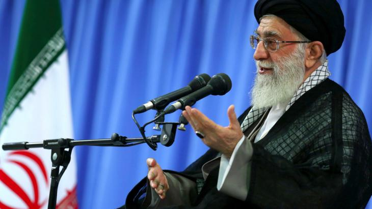 Iran's Supreme Leader Ayatollah Ali Khamenei speaks at a meeting of Revolutionary Guard commanders (photo: AP Photo/Office of the Supreme Leader)