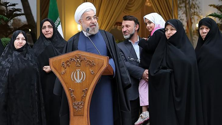 """Iran's President Hassan Rouhani at a press conference after the """"nuclear deal"""" (photo: Tasnim)"""