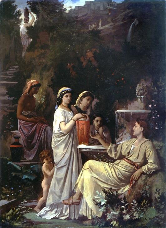 """The painting shows how Anselm Feuerbach imagined the Persian poet Hafez as """"The Fairy-tale teller"""" in 1866 (source: Museum Pfalzgalerie Kaiserslautern des Bezirksverband Pfalz/Wikipedia)"""