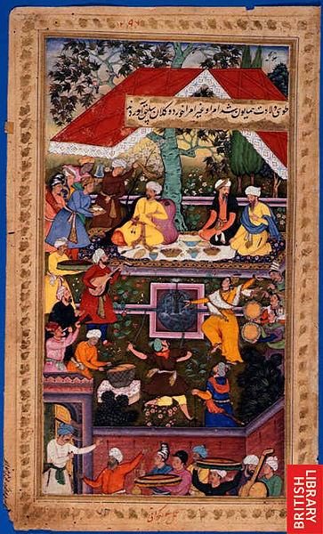 Babur celebrates the birth of Humayun in the Chaharbagh of Kabul,  Illustrations of Mughals from the Baburnama (image: British Library/Wikipedia/Creative Commons)