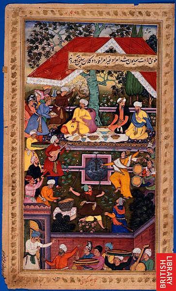 Babur celebrates the birth of Humayun in the Chaharbagh of Kabul,  Illustrations of Mughals from the Baburnama (image: British Library/Wikipedia/Creative Commons)