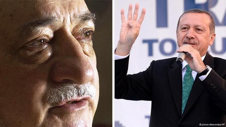 Fotomontage Fethullah Gülen (l.) und Recep Tayyip Erdogan; Quelle: DW