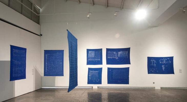The Dina Danish installation at the Biennale Jogja XII 2013 - batik dyeing on cotton fabric