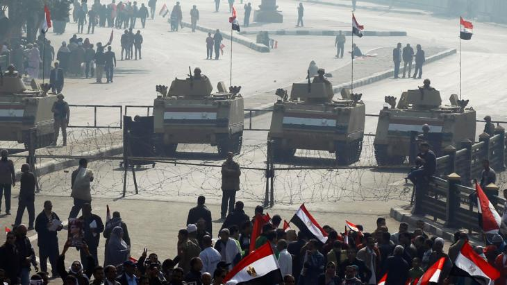 Demonstration by supporters of the political leadership in Cairo on the third anniversary of the revolution (photo: Reuters)