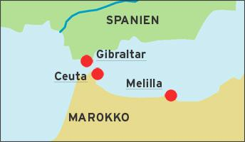 Map showing the locations of the Spanish enclaves of Ceuta and Melilla (map: DW)