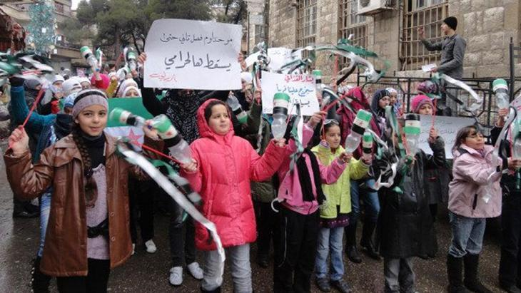 Children demonstrating against the Assad regime in Zabadani (photo: Reuters)