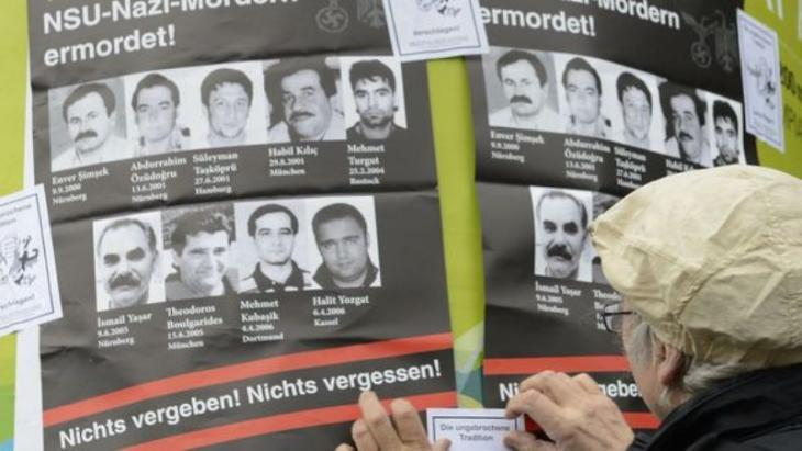 Posters in Munich with pictures of victims of the National Socialist Underground (NSU) (photo: Christof Stache/AFP/Getty Images)