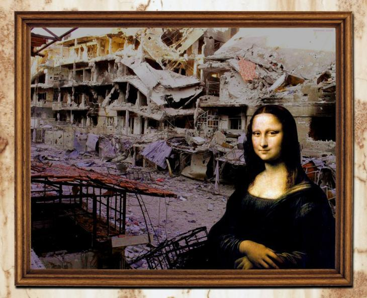 Tammam Azzam's photomontage of the Mona Lisa seated in front of ruined buildings in Syria (source: Tammam Azzam)