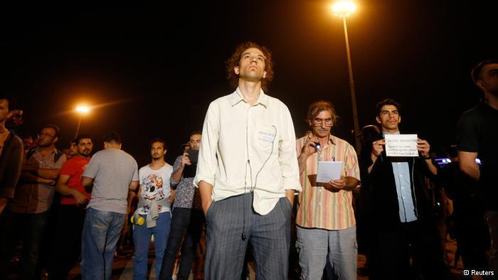 Artist Erdem Gunduz in the middle of his silent protest in Istanbul (photo: Reuters)