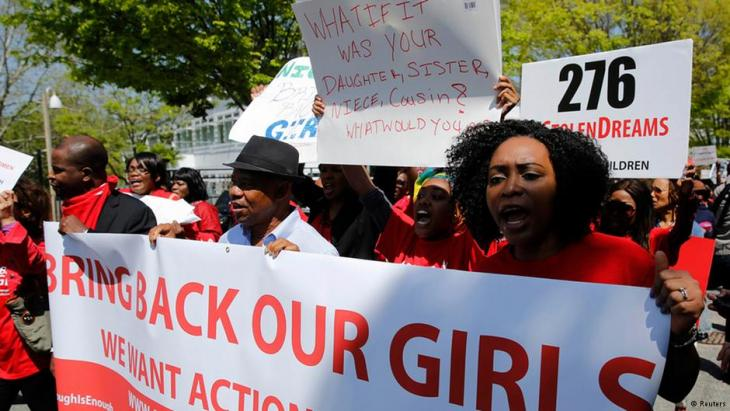 People in Washington protesting at the kidnapping of over 200 Nigerian schoolgirls by Boko Haram (photo: Reuters)