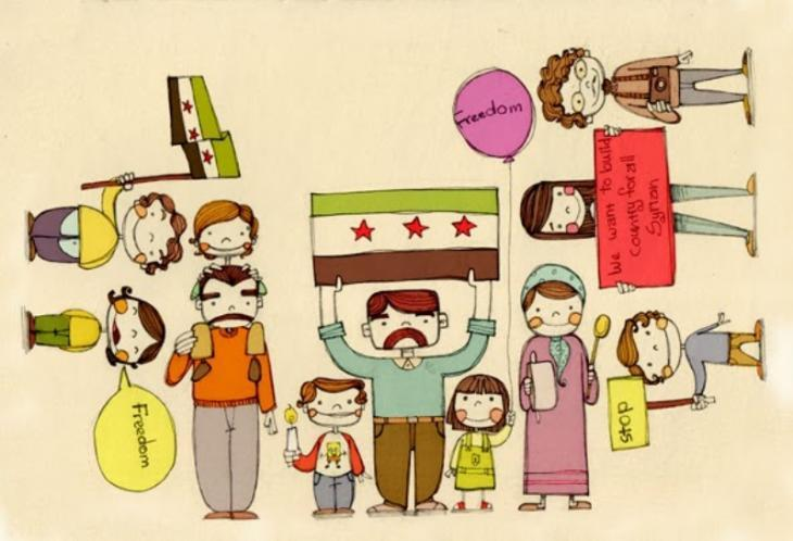 """Card for Syrian children"" by Diala Brisly (source: Diala Brisly)"