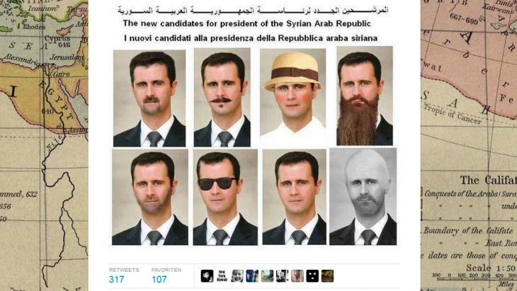 Caricature of Syrian President Bashar al-Assad (photo: screenshot from Twitter)