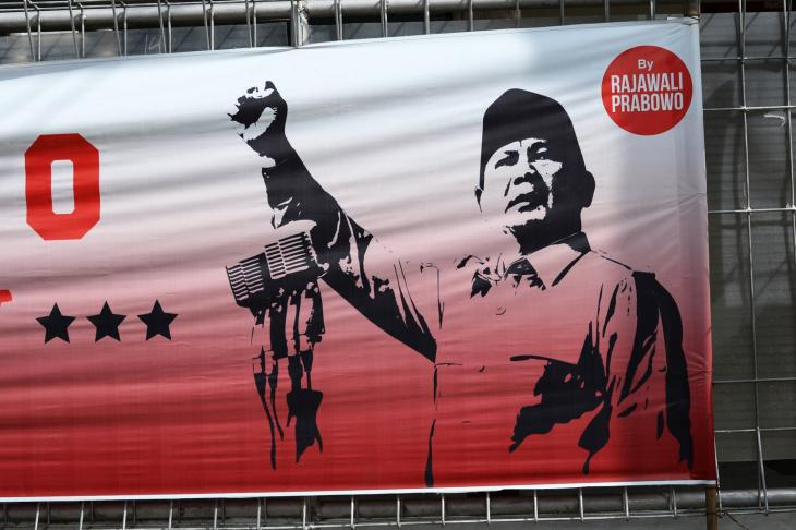 Election campaign poster showing Indonesian presidential candidate Prabowo Subianto. Photo: Eleonore Schramm