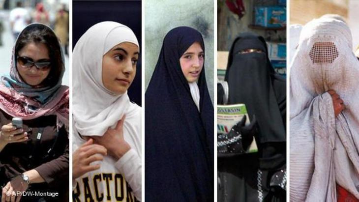Different types of veil, from the headscarf to the niqab and burka. Photo: AP/DW-Montage