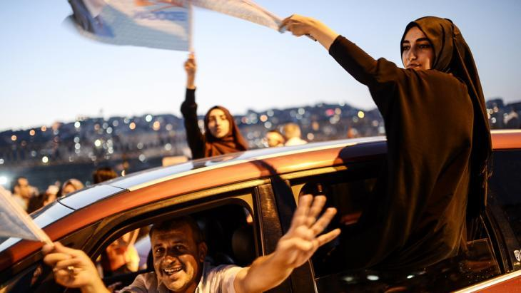 Erdogan supporters celebrating in Istanbul after the announcement of his election victory (photo: AFP/Getty Images)