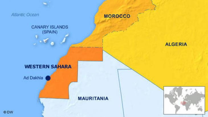 Map of north-western Africa showing Morocco, Algeria and the disputed territory of Western Sahara (source: DW)