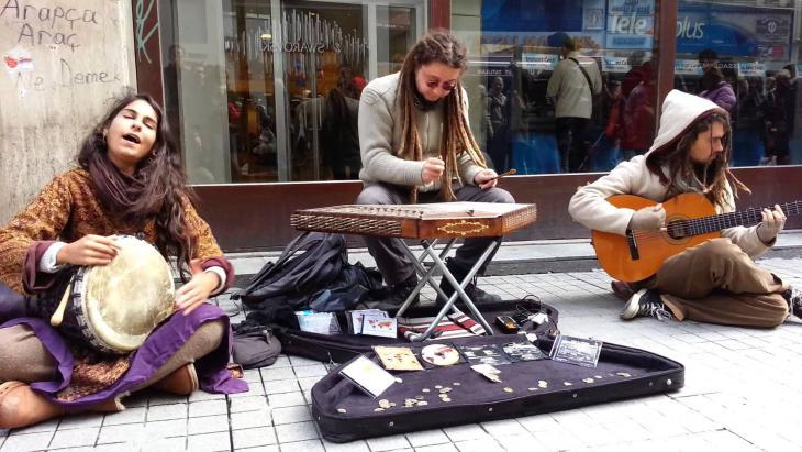 The members of Light in Babylon perform on a street in Istanbul (source: 1st Gezi Soul Festival 2014)