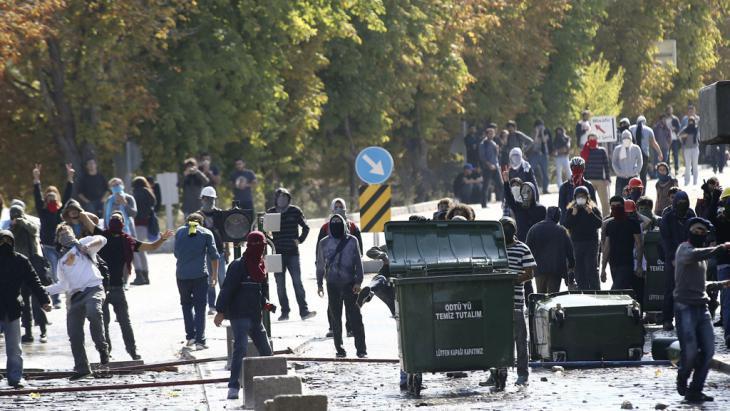 Kurdish demonstrators in Ankara (photo: Getty Images/AFP/Adem Altan)