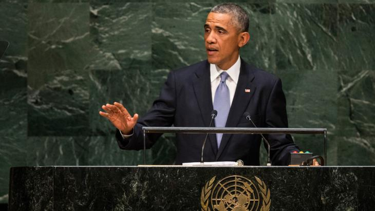 US President Barack Obama speaking at the 69th United Nations General Assembly on 24 September 2014 photo: Getty Images/A. Burton)