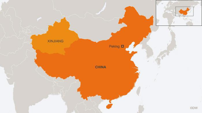 Map of the Chinese conflict region Xinjiang (source: DW)