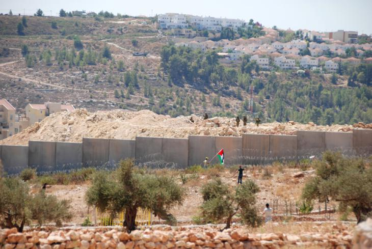 Palestinians in Bil'in protesting against the barrier and Israel's settlement policy (photo: Laura Overmeyer)