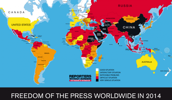 Reporters Without Borders' World Press Freedom Index 2014 (source: Reporters Without Borders)