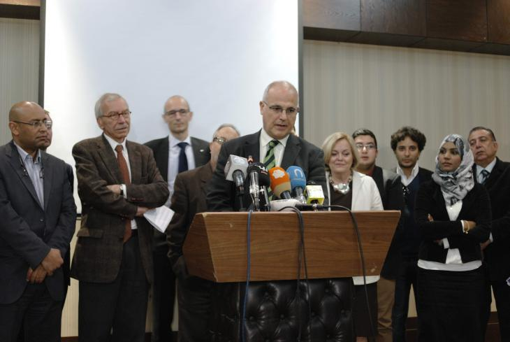 A meeting of Libyan media representatives and diplomats from EU states and the UN Mission in February 2014 (photo: Valerie Stocker)