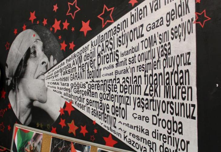 A poster in the Kazova shop and cultural centre, Istanbul (photo: Ekrem Guzeldere)