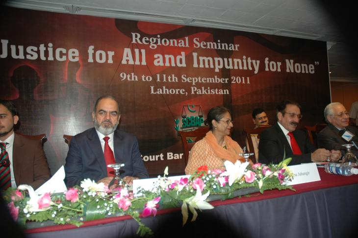"""Asma Jahangir, centre, at the regional seminar """"Justice for all and impunity for none"""" in 2011 (photo: Right Livelihood Award Foundation)"""