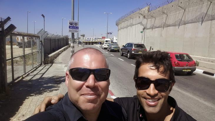 Gonen Ben Itzhak (left) and Mosab Hassan Yousef in Ramallah, West Bank (photo: private)