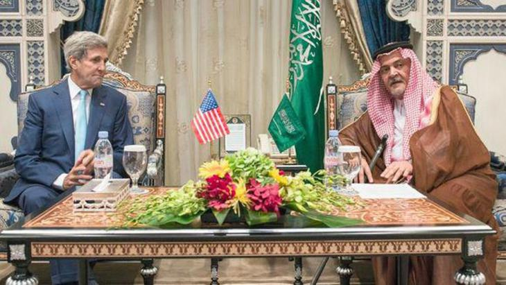 US Secretary of State John Kerry (left) and Saudi Foreign Minister Saud al-Faisal in Saudi Arabia (photo: AFP/Getty Images)
